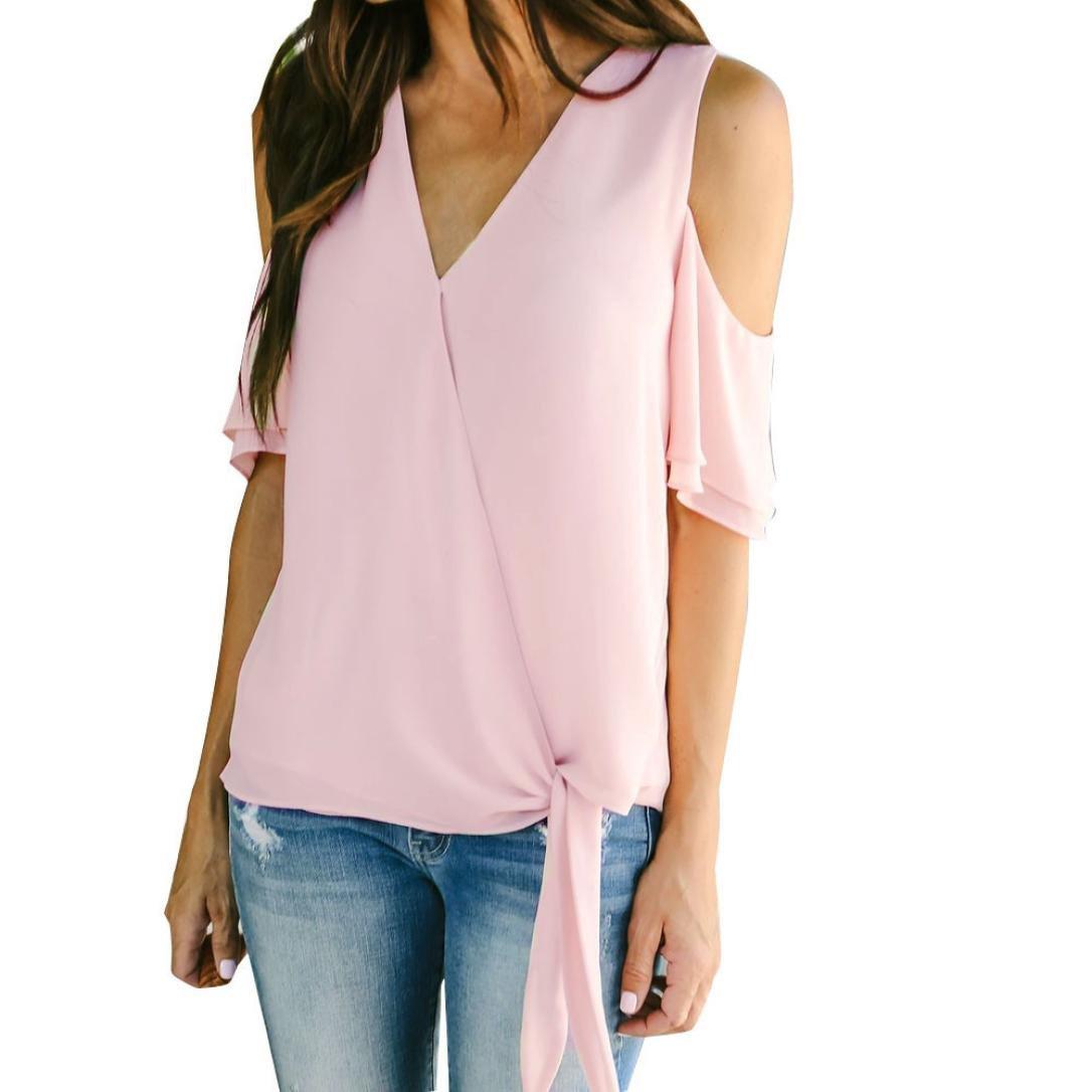 Spbamboo Womens V Neck Off Shoulder Short Sleeve Tops Hot Sale T Shirt Blouse