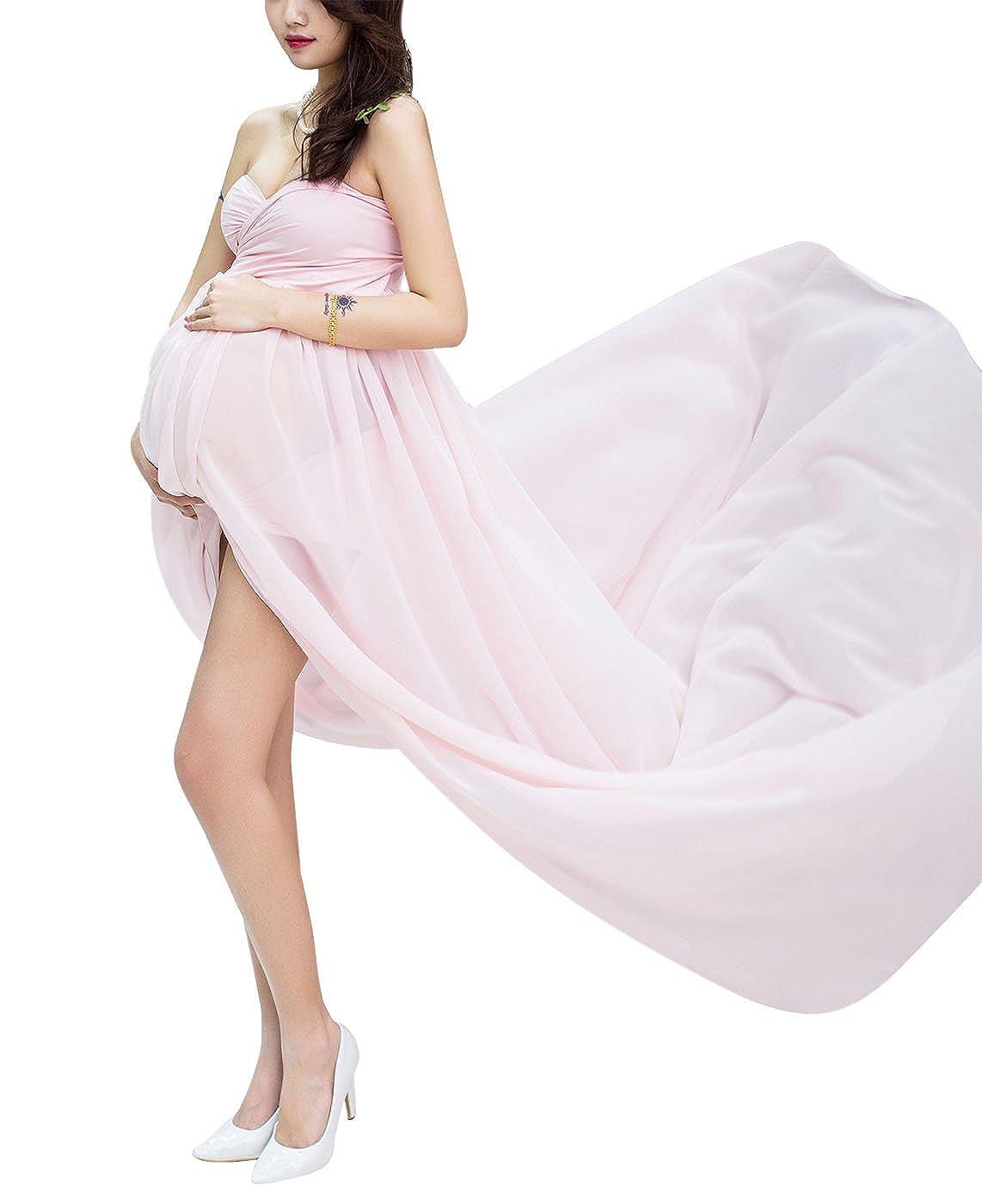 Maternity High Waist Photography Dress Full length Chiffon Gowns with Briefs Aivtalk
