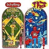 "Schylling Classic 10"" Pinball Games Space Race & Home Run! Baseball Gift Set Bundle - 2 Pack"