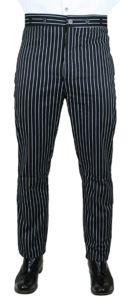 Men's Victorian Costume and Clothing Guide Historical Emporium Mens High Waist Striped Henderson Cotton Trousers $62.95 AT vintagedancer.com
