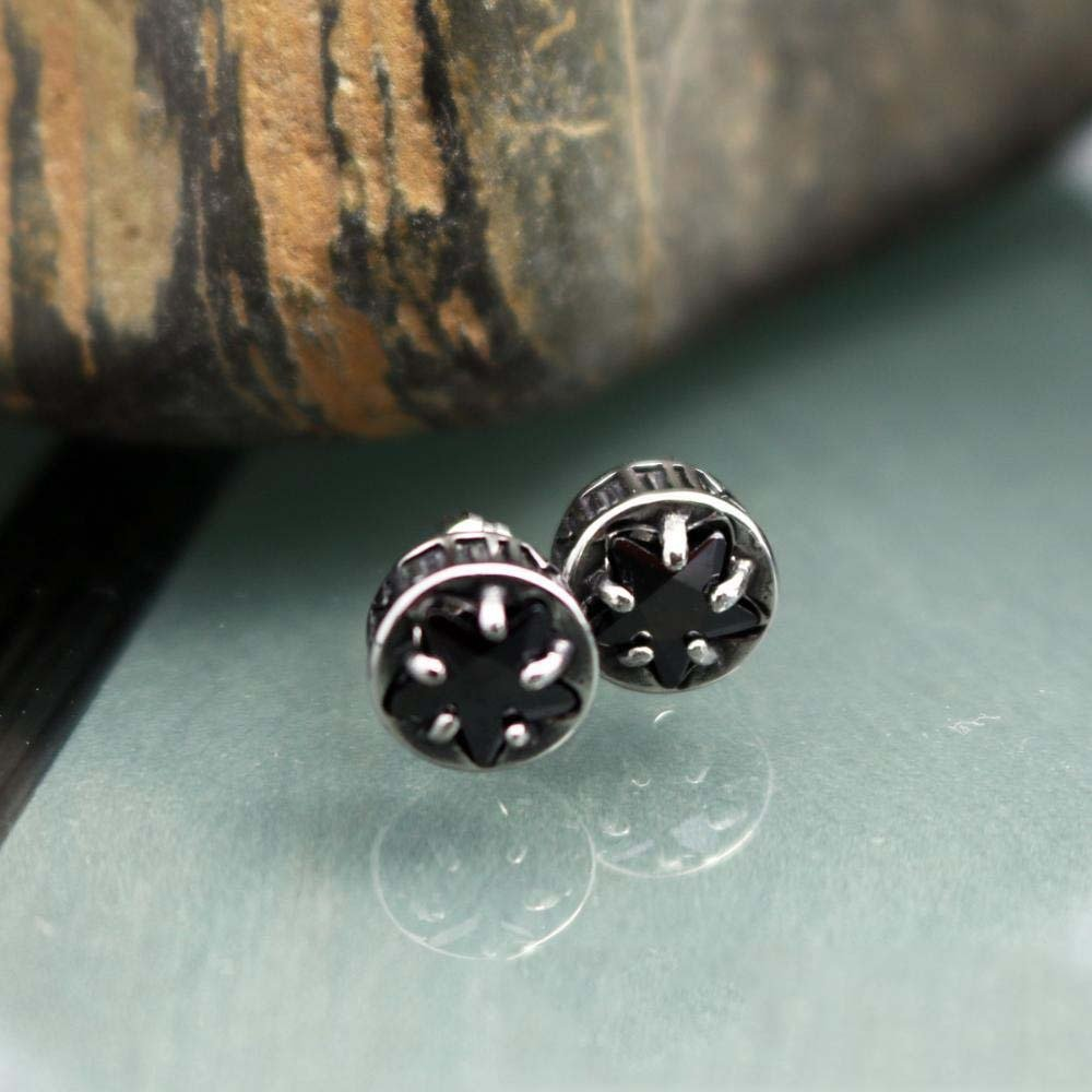 Ludage Earrings, Universal Titanium Steel Zircon Earrings for Men and Women with Round Star-Shaped Ear Allergy 7mm7mm