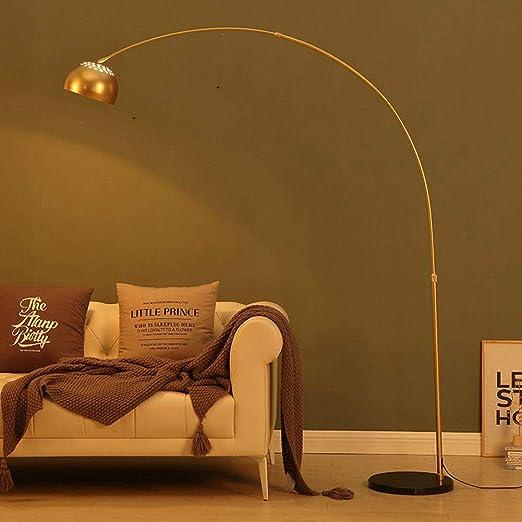 Convient /également aux ampoules /à LED Lampadaire Vintage avec abat-jour en m/étal dor/é Lampadaire Lampe /à arc au design r/étro Douille E27 Maximum 60 Watt Avec commutateur au pied sur c/âble