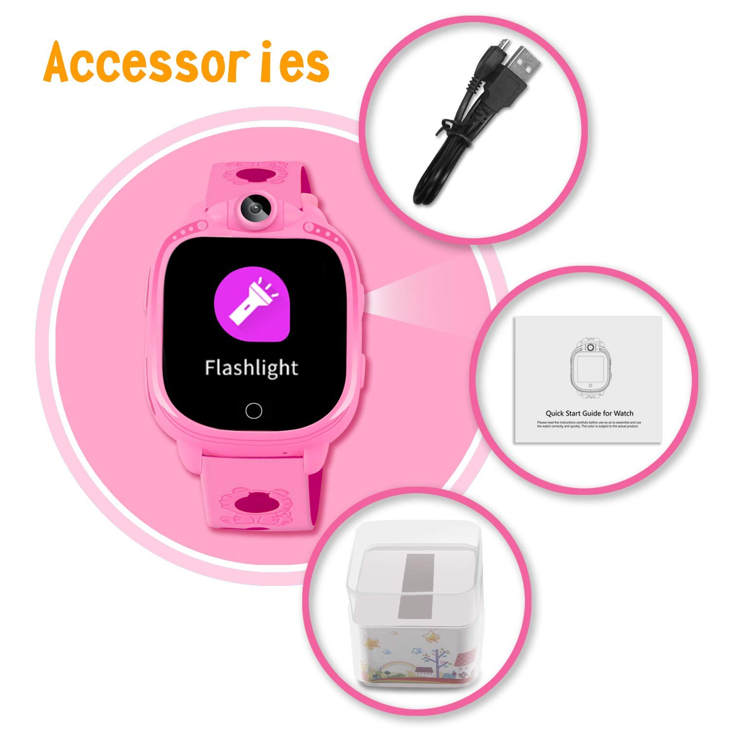 Prograce Kids Smart Watch with 90°Rotatable Camera Smartwatch Touch Screen Kids Watch Music Pedometer Flashlight FM Radio Games Digital Wrist Watch for Girls Electronic Learning Toys by Prograce (Image #8)