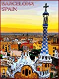 Barcelona Cityscape Spain Spanish Europe European Travel Advertisement Poster Picture Print. Poster measures 10 x 13.5 inches
