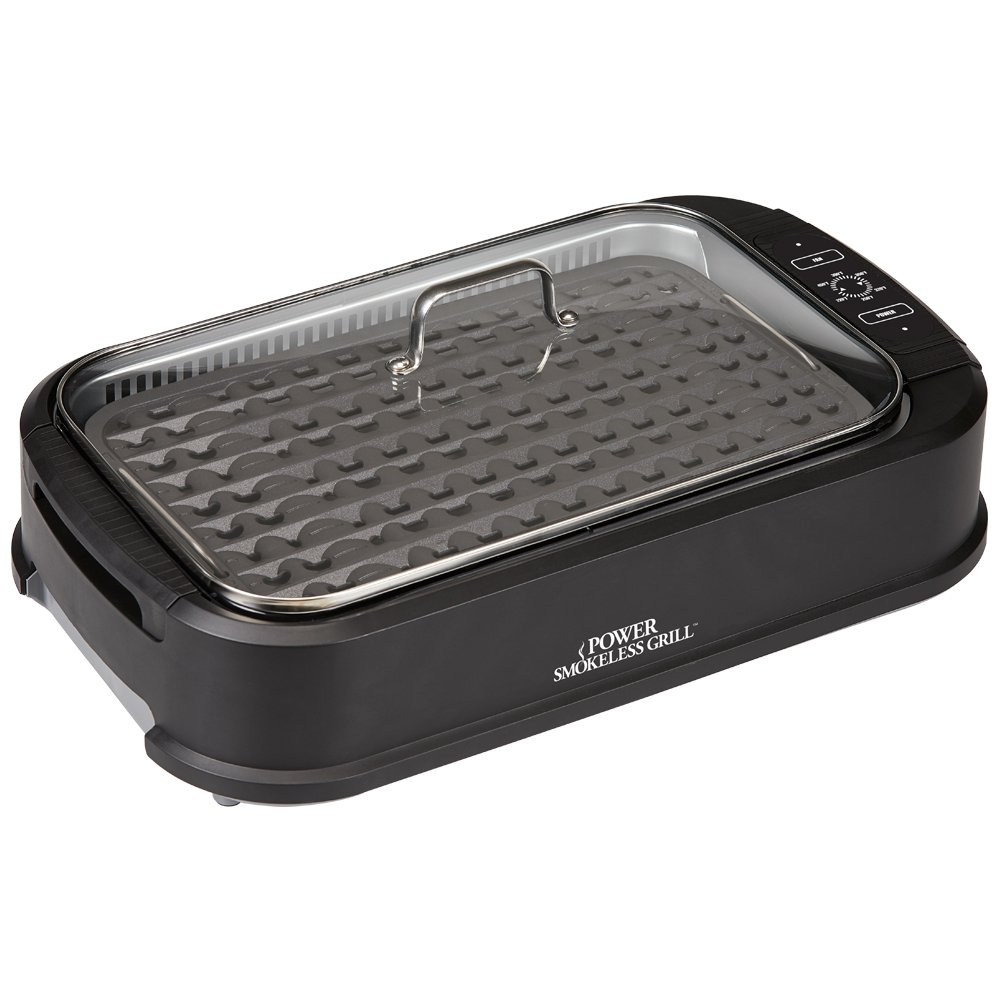 Power Smokeless Grill with Tempered Glass Lid and Turbo Speed Smoke Extractor Technology. Make Tender Char-grilled Meals Inside With Virtually No Smoke