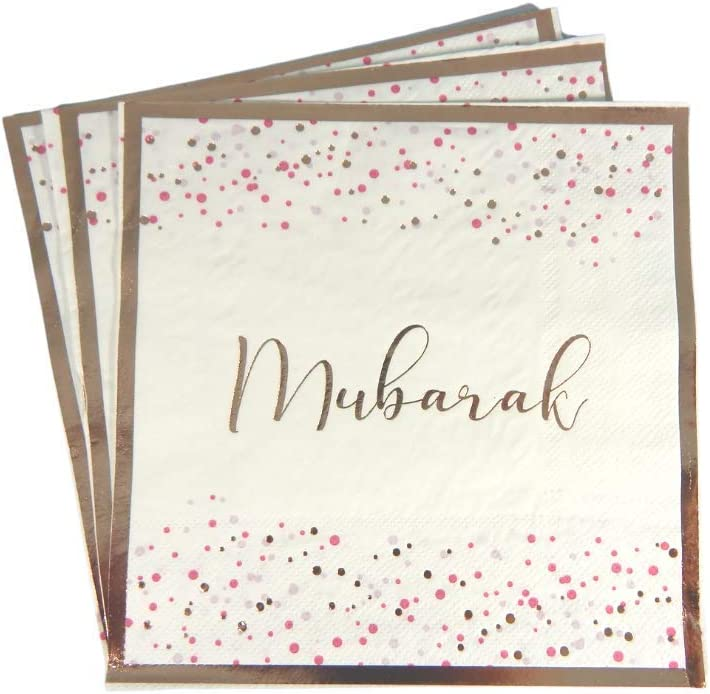 Peacock Supplies Lot de 20 serviettes de table /à confettis Moubarak