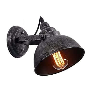 Anmytek Black Silver Color Wall Light Fixture, Industrial Retro Rustic Loft Antique Wall Lamp Edison Vintage Pipe Wall Sconce Decorative Fixtures Lighting Luminaire (Bulbs Not Included) by Anmytek