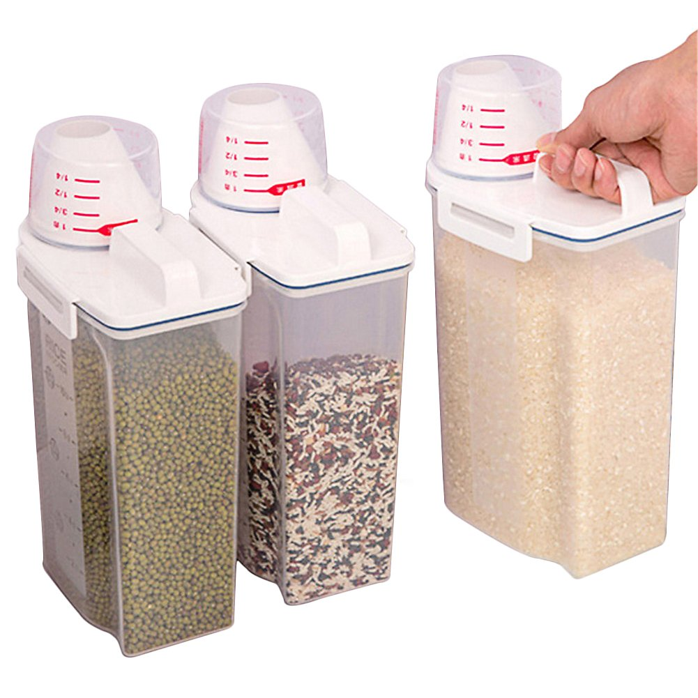 Recipiente de plástico para almacenamiento de alimentos de cocina, sin BPA, sellado a prueba de humedad, 2 kg con taza de medición para azúcar de harina de arroz, aperitivos y comida para mascotas MOLRE-YAN