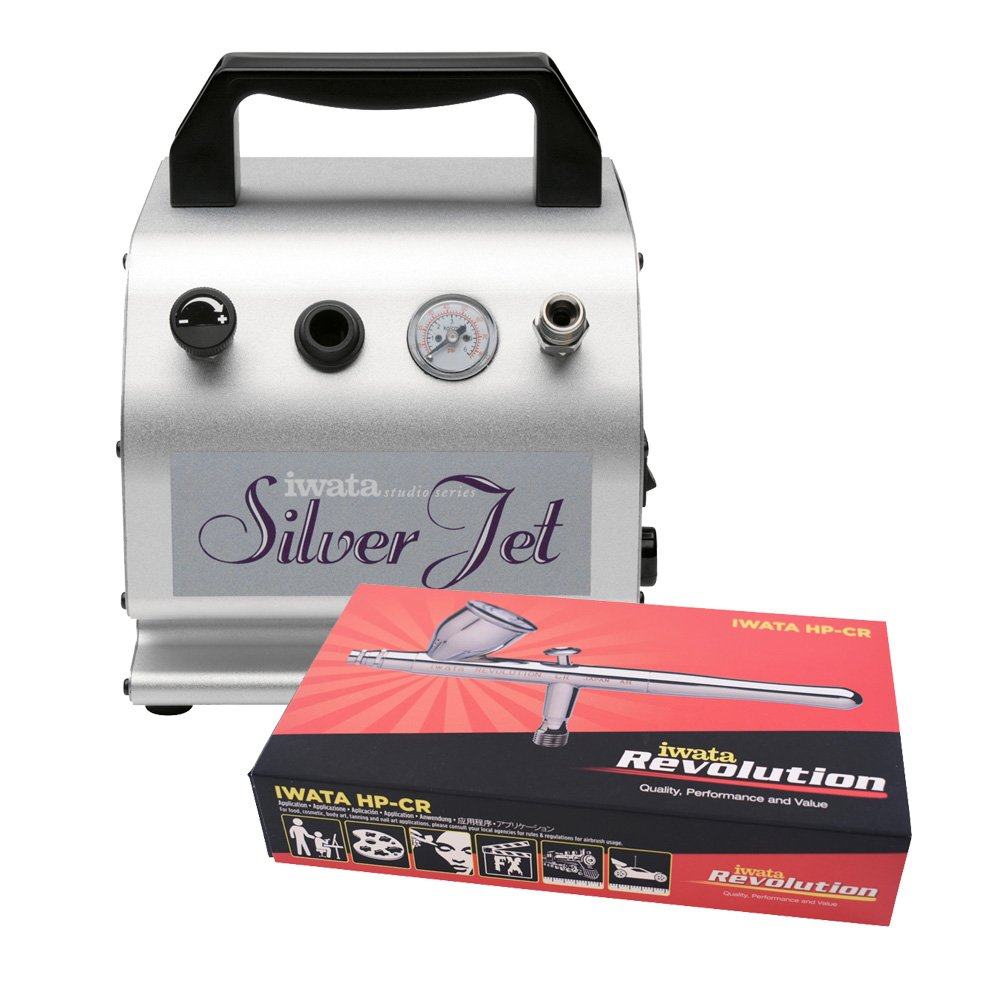 Iwata Revolution CR Airbrushing System with Silver Jet Air Compressor