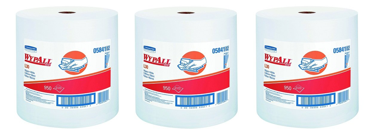 WypAll 05841 L30 Wipers, 12 2/5 x 13 3/10, White, 1 Roll (3-Pack)