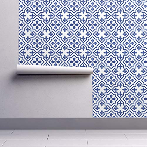 Fleur De Lis Wallpaper Roll - Blue and White Geometric Pattern Cobalt Blue Repeating Pattern Beautiful Delft Pattern Blue Delft by Lucielou - 1 Roll 24in x 27ft
