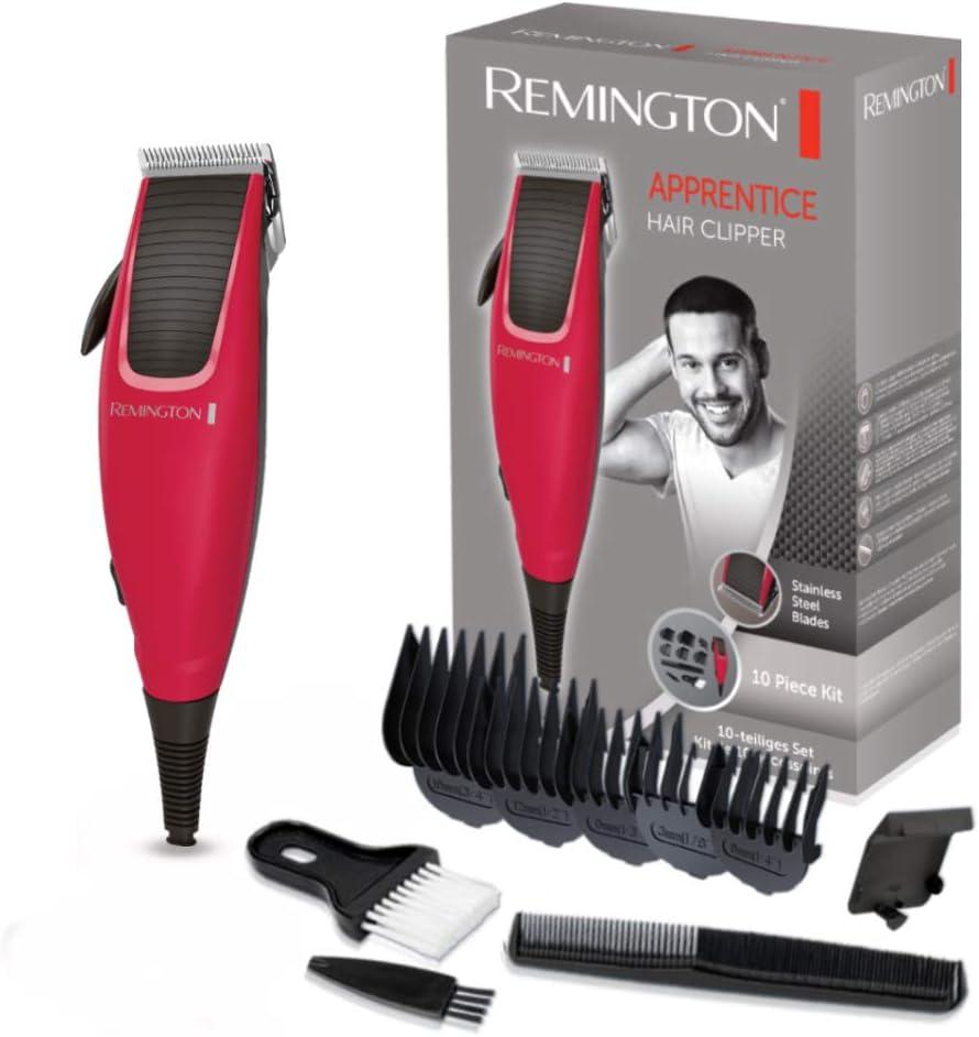 Remington HC5018 Apprentice - Kit Máquina de Cortar Pelo y 10 Piezas, Cortapelos con Cuchillas Acero Inoxidable, Rojo