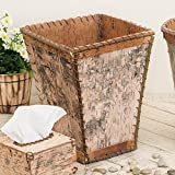 Black Forest Decor Birch Bark Square Waste Basket