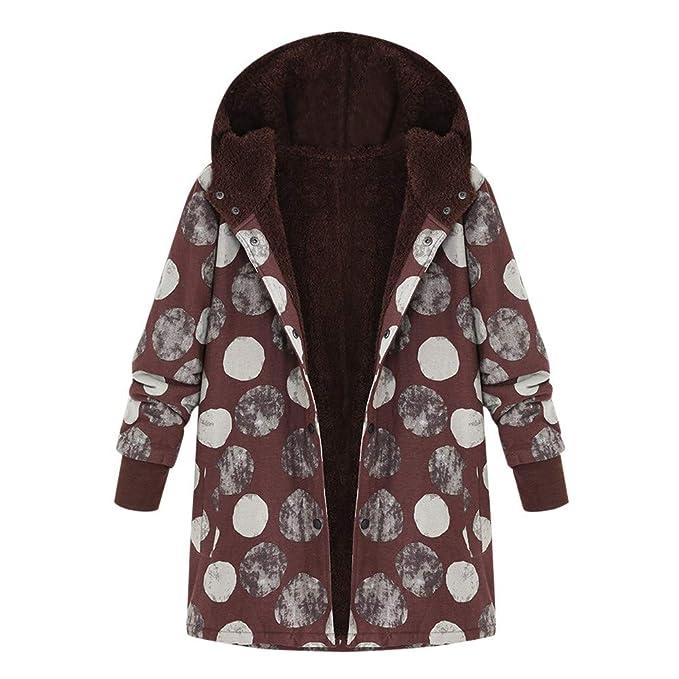 Womens Winter Coats,BCDshop Warm Outwear Dot Print Hooded Jacket Pockets Vintage Overcoat Faux Fur