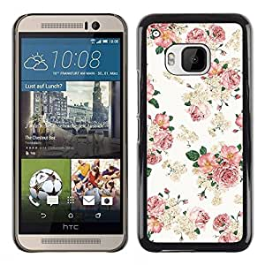 Design for Girls Plastic Cover Case FOR HTC One M9 Floral Pink Wallpaper White Retro Style Vintage OBBA