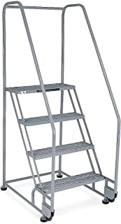 product image for Cotterman - 4TR18A1E10B8C1P6-4-Step Tilt and Roll Ladder, Expanded Metal Step Tread, 70 Overall Height, 450 lb. Load Capacity