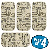 mDesign Absorbent Kitchen Countertop Dish Drying Mat - Pack of 4,...