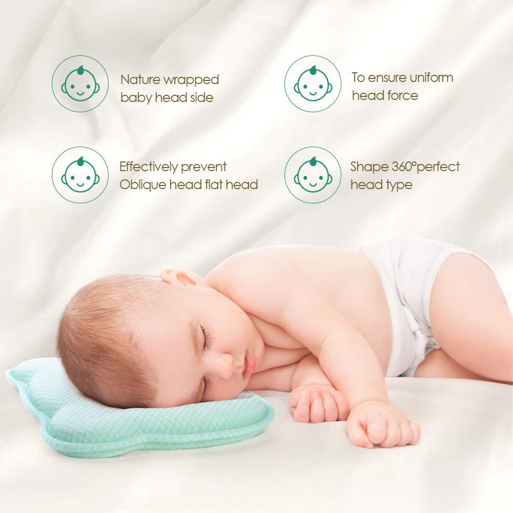 0-12 Monate Baby Kopf Gestaltung Kissen f/ür Neugeborene Gr/ün aikiddo atmungsaktivem Memory-Schaum Kissen zum Schlafen Kopf St/ütze Infant sch/ützende Kissen mit Bio Kopfkissenbezug Baumwolle