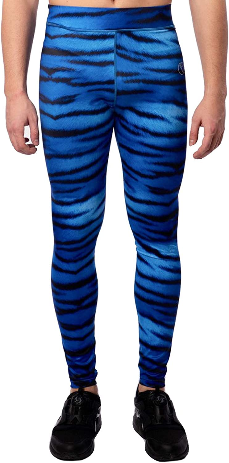 Kapow Men's Performance Leggings - Pockets, Compression Tights, Yoga Workouts Running Gym Colorful Sports Base Layer