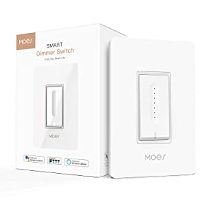 MOES WiFi Smart Light Dimmer Switch,Smart Life/Tuya APP Remote Control,Compatible with Alexa Google Home for Voice Control,No Hub Required(Standard Size)