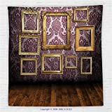 59 x 59 Inches Antique Decor Fleece Throw Blanket Old Styled Interior Wall Decorated with Classic Picture Frames Damask Pattern Blanket