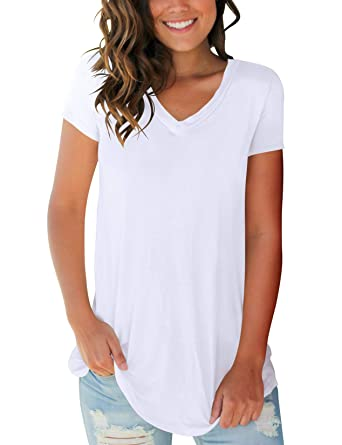 ebc3c9e2 SMALOVY Women Solid Short Sleeve T-Shirt V Neck Spring Fashion Clothes  Tunic White S