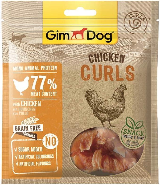 GimDog Chicken Curls - Snack de carne seca con fórmula sin cereales y monoproteica para perros - 6 paquetes (6 x 55 g)