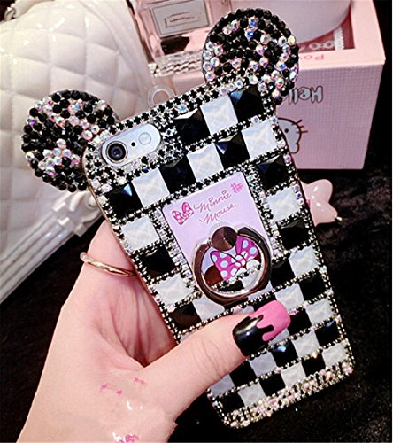 Bling iPhone 7 Plus Diamond Case With Chain,Chanyaozy[DIY][Luxury][Stand]Glitter Diamond Mouse Ears Soft Rubber Case (Black&White With Ring (Diy Minnie Ears)