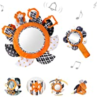 TUMAMA Tummy Time Baby Floor Mirror with Plush Rattles Rings Sun Flower Sets, Baby Car Mirror for Back Seat Activity…