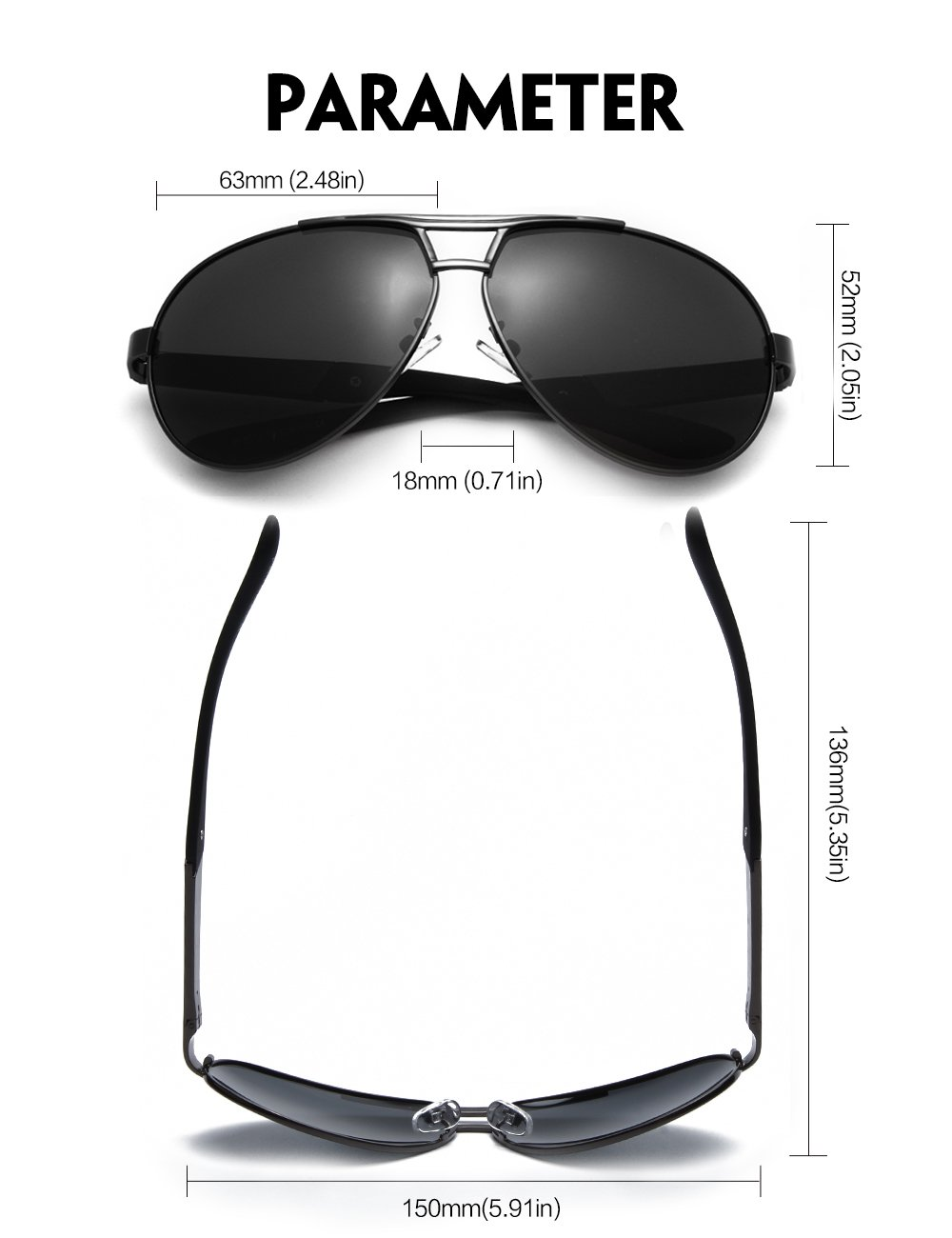 WELUK Mens Aviator Sunglasses Polarized Oversized Wide Frame Big for Men Driving Grey