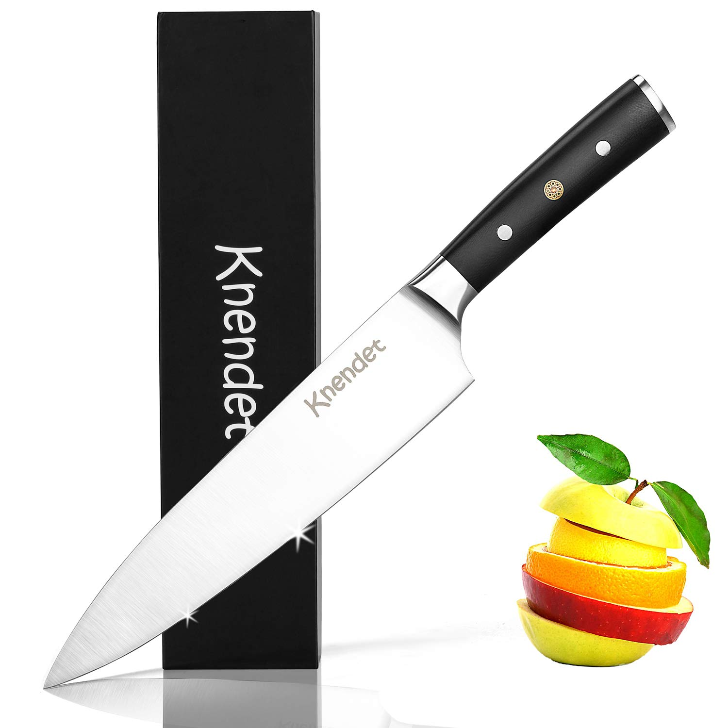 Chef Knife 8 inches Kitchen Knife ,Well Balanced and G10 Ergonomic Handle Cooks Knife - Vegetable Knife - Meat Knife - Fruit Knife with German High Carbon Stainless Steel,Ultra Sharp Professional Chef's Knives in Magnet Gift-Box Knendet