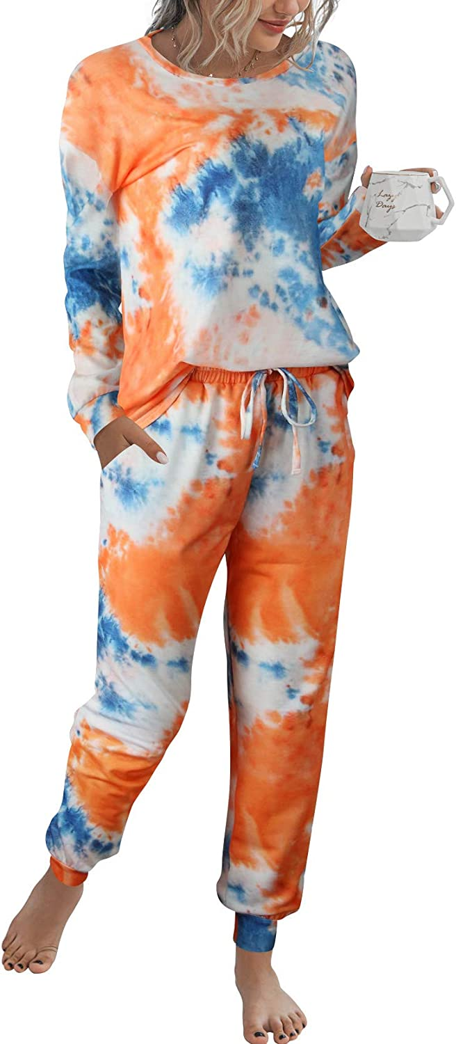 Margrine Women/'s Tie Dye Printed Pajamas Set Long Sleeve Tops with Shorts Long Lounge Set Casual Two-Piece Sleepwear