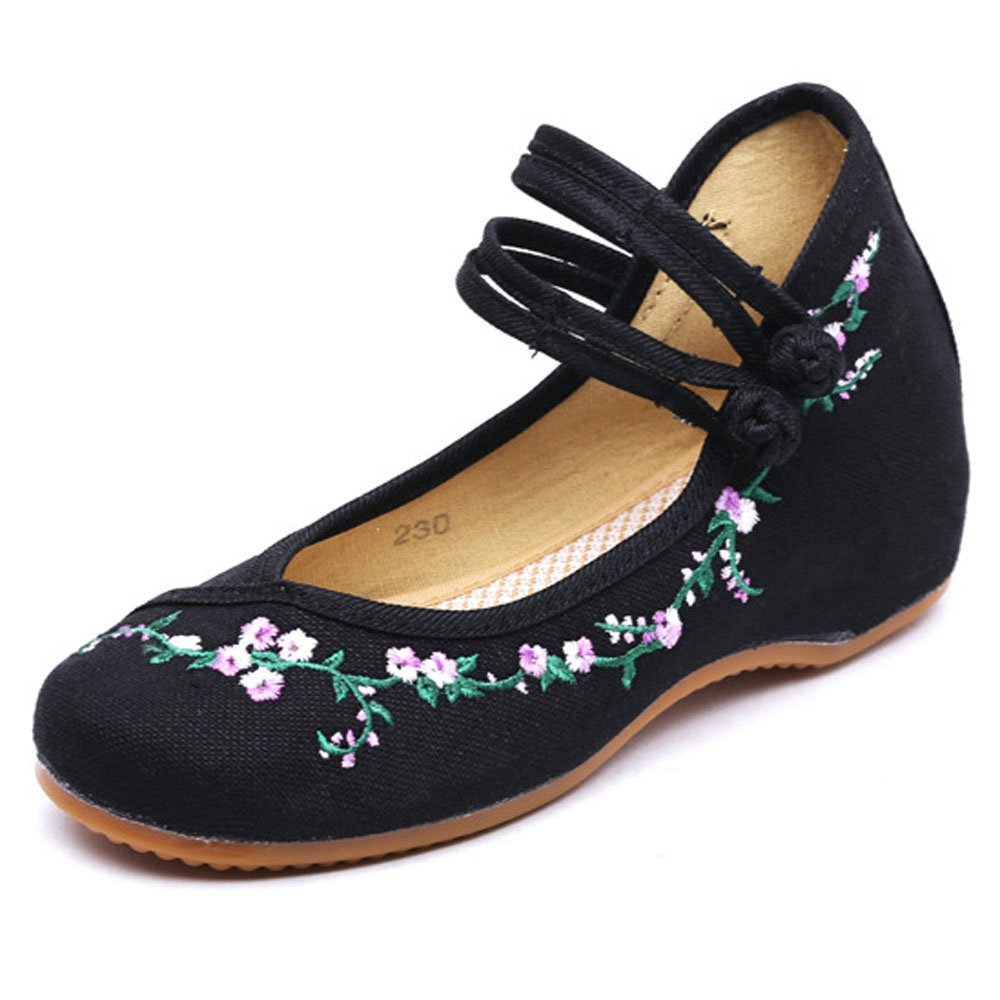 Canvas Women Rattan Flower Embroidery Knotting Casual Flats Soft Sole Mary Janes Shoes Black 6.5 B(M) US