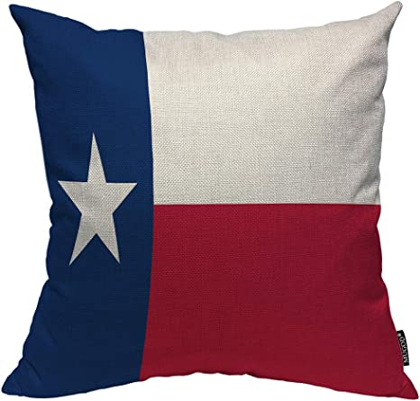 Mugod Texas Flag Decorative Pillow Case State Dallas Houston Red Blue And White Star Throw Pillow Cover Home Decor Cotton Linen Square Cushion Cover For Couch Bed Sofa 18x18 Inch Home