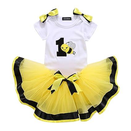 Bebé Niña 3pcs Corona Patrón de primer cumpleaños para vestido de tutú con Diadema Abeja/
