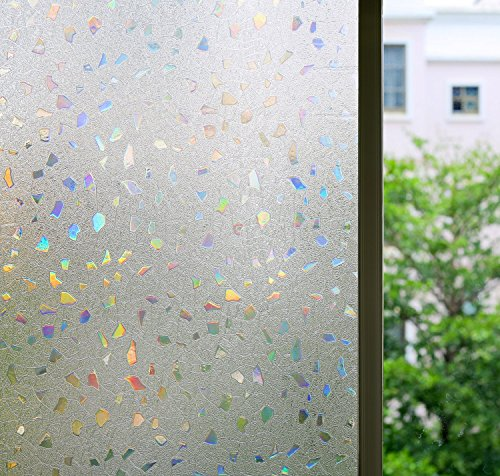 Film Privacy Window Film Stained Glass Films Decorative Windows Film Window Sticker Glass Film Static Cling No Glue Heat Control Anti UV, 35.4 by78.7 inches (3' Static Cling Decal)