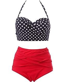 e304c66253 HDE Women's Retro Bikini High Waist Vintage Style Swimsuit 50's Pinup Bathing  Suit