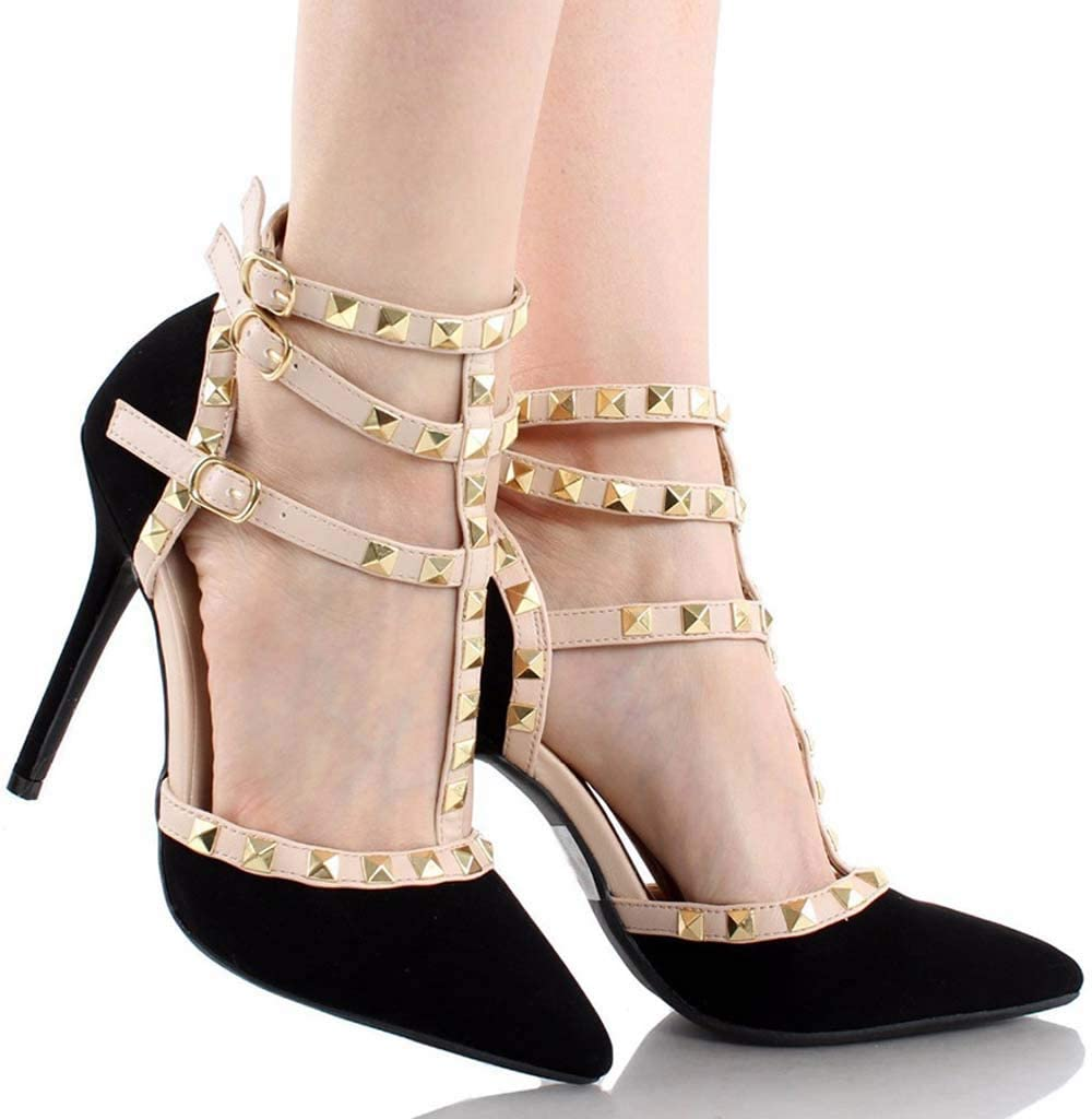 FEFEFEF Sandals Female Pointed Head with Womens Sandals T-Type Strap Rivets Shoes