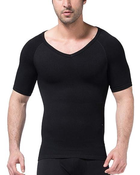d059396d4 Chartou Men's Short Sleeve Slim Fit V-Neck Seamless Compression T-Shirt  Tops Undershirts
