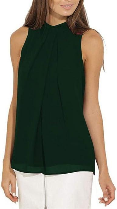 Womens Sleeveless Tank Tops Chiffon Loose Fit Summer Vest T Shirt Cami Blouse