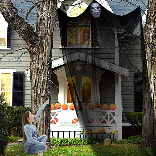 CHICHIC Scary Hanging Ghost Halloween Props Decorations Death Reaper Skeleton Skull Flying Ghost Horrible Spooky for Yard Outdoor Indoor Party Bar, Halloween Prop Party Supplies Decor ()