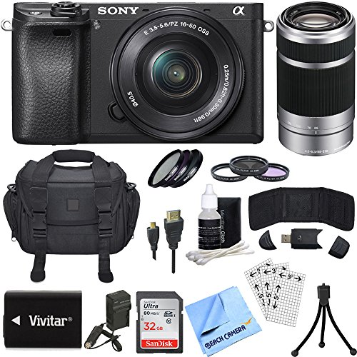 Sony Alpha a6300 ILCE-6300 4K Mirrorless Camera 16-50mm + 55-210mm Lens Bundle includes a6300 Camera, 16-50mm + 55-210mm Zoom Lens (Silver), Filter Kits, 32GB SDHC Card, Beachcamera Cloth and More!