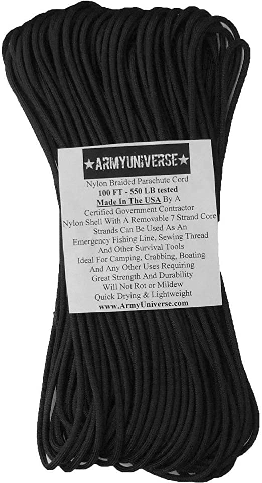 MFH Rope 5mm Multipurpose Military Army Survival Cord Fitness DIY Home Black