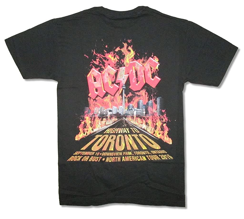 AC//DC Highway To Toronto Event 2015 Flames Black T Shirt New Official