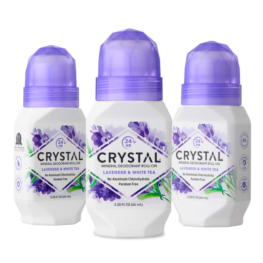CRYSTAL Mineral Deodorant Roll-On Body Deodorant With 24-Hour Odor Protection, Lavender & White Tea, Non-Sticky Roll-On, Aluminium Chloride & Paraben Free, 2.25 FL OZ, Pack of 3