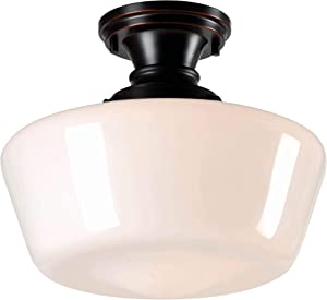 Kenroy Home 93660ORB Rustic 1 Light Flush Mount,10.5 Inch Height, 12 Inch Diameter with, Blackened Oil Rubbed Bronze Finish