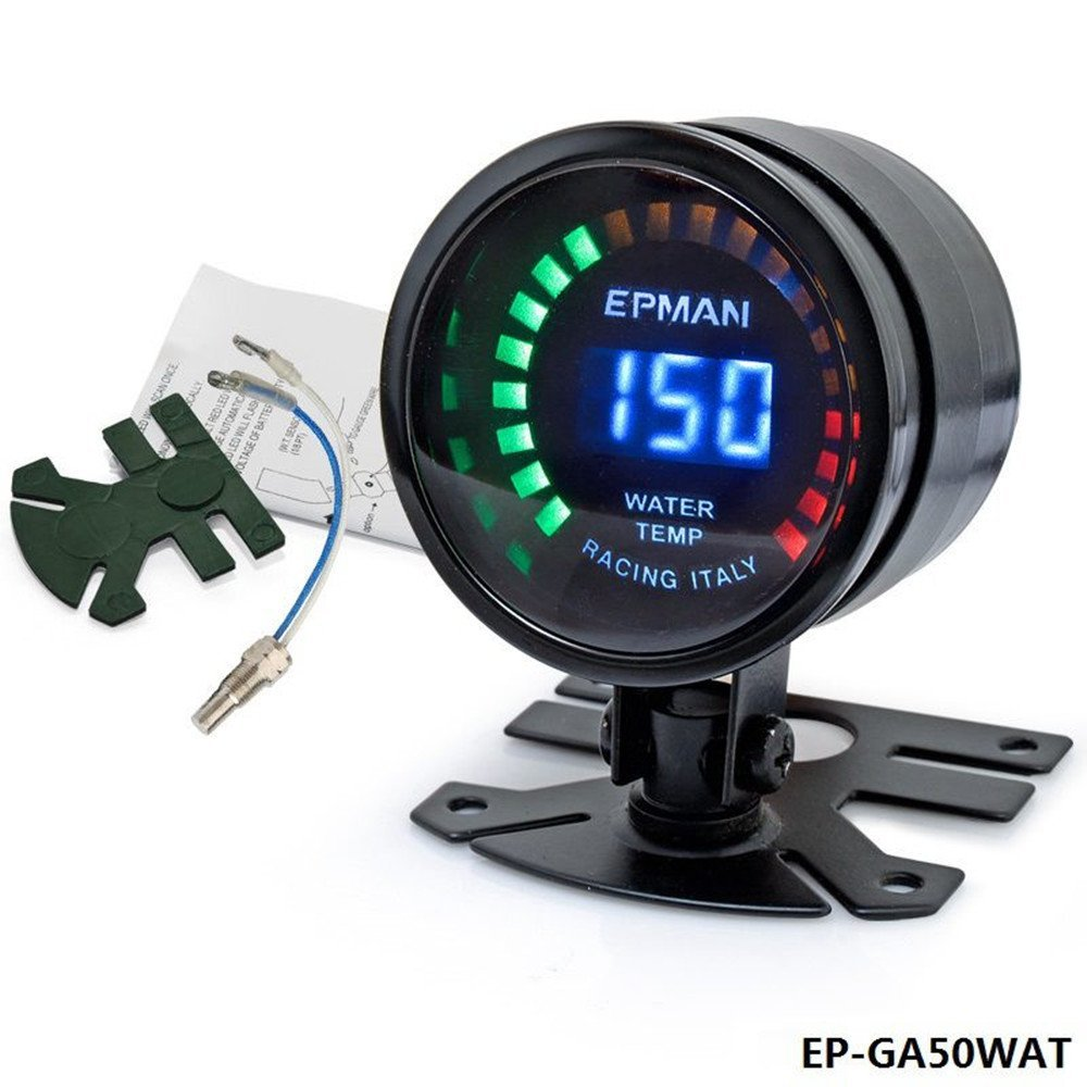 Epman Racing 2' 52mm Smoked Digital Color Analog Water Temperature Temp Meter Water Temp Gauge with Sensor Bracket EP-GA50WAT YiPin