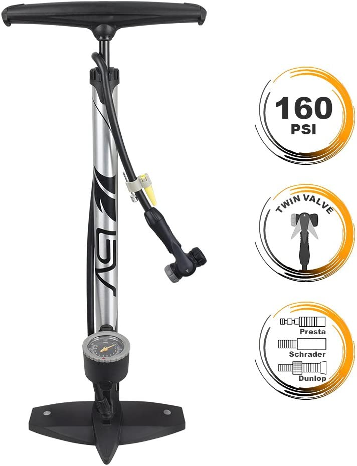 BV Bicycle Ergonomic Floor Pump with Gauge & Clever Air Valve, 160 psi, Reversible Presta and Schrader : Floor Bike Pumps : Sports & Outdoors