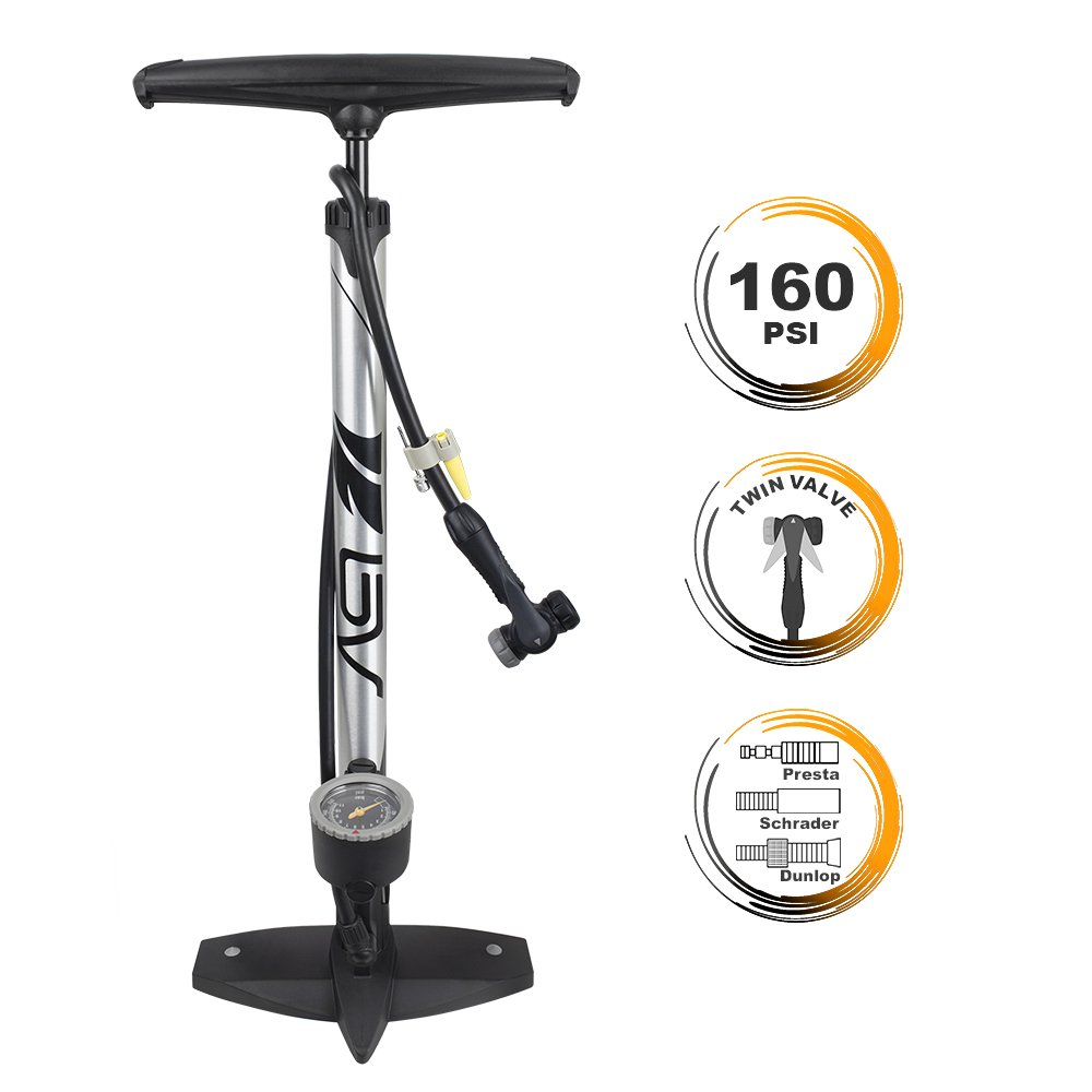 BV Bicycle Ergonomic Floor Pump with Gauge Clever Air Valve, 160 psi, Reversible Presta and Schrader