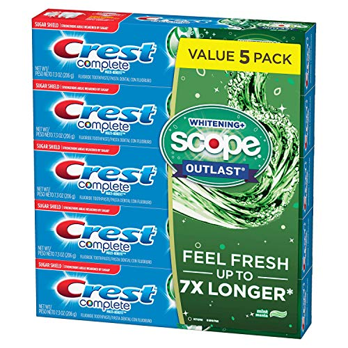 Paste Crest - Crest Complete Whitening + Scope Mint Outlast Toothpaste, 5 pk./7.3 oz